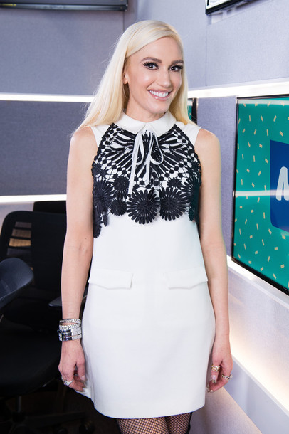 dress mini dress gwen stefani white dress black and white