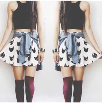 skirt crop tops skater skirt denim shirt knee high socks cats top tank top socks underwear