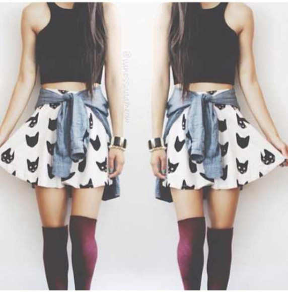 skirt cats skater skirt crop tops denim shirt knee high socks top tank top
