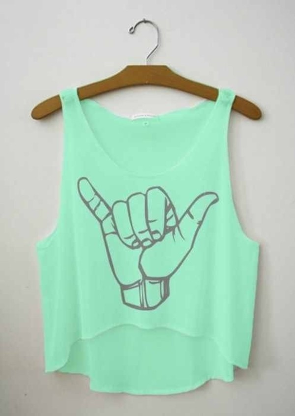 tank top mint hang loose crop tops