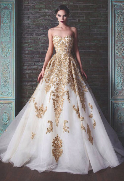 Dress: white dress, gold dress, white and gold dress, ball gown ...