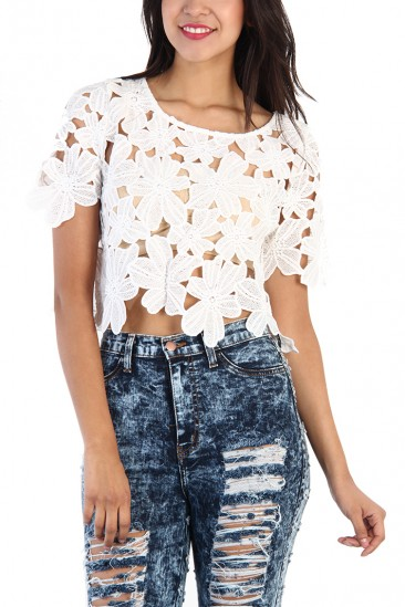 LoveMelrose.com From Harry & Molly | Floral Lace Crop Top - White
