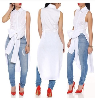 blouse white bow top shirt white top jeans