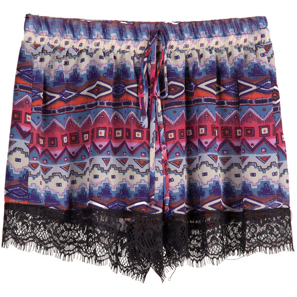 Tribal Lace Trim Lounge Shorts - Polyvore