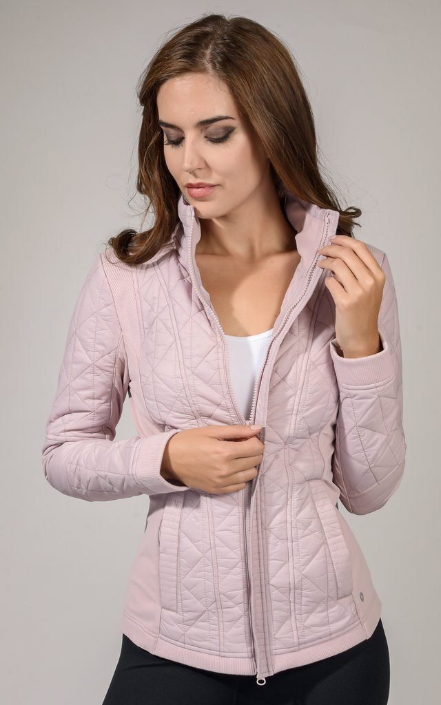 Pearled Rose Quilted Zip Front Jacket