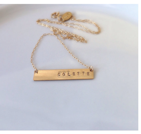 Gold Bar Engraved Necklace  Valentine's Day Gift by camilaestrella