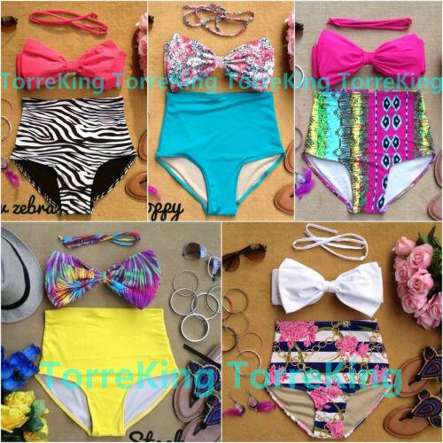 Retro Pinup Bow Tie Bandeau Vintage High Waist Bikini Swimsuit Swimwear s M L XL | eBay