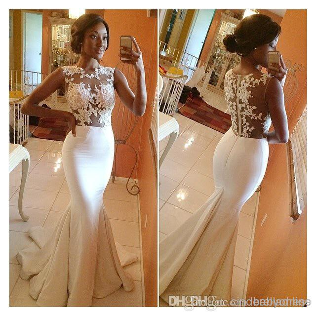 Wholesale Mermaid Prom Dresses - Buy 2014 Hot Sale Bateau Mermaid Prom Dresses Satin Appliques Sheer Lace Brush Train Formal Evening Dress Celebrity Gowns Bridesmaid Gown BO5688, $115.51 | DHgate