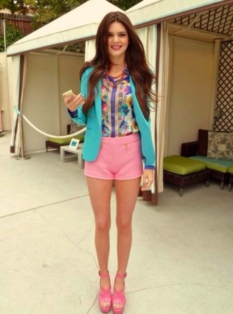 shorts pattern colorful kendall jenner california girl blazer mint printed blouse dress top