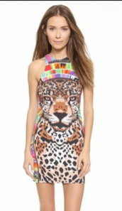dress,summer dress,sexy dress,bodycon,party dress,tiger face,animal print party dress