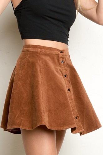 skirt button skirt brown button up skirt skater black cami top