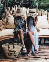 dress,beach bag,hat,tumblr,halter neck,halter dress,maxi dress,long dress,sandals,flat sandals,bag,sun hat,off the shoulder dress,customized beach hat,shoes