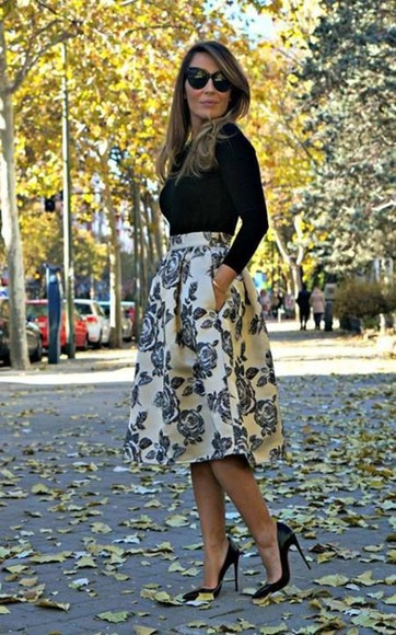 skirt striped skirt floral midi skirt