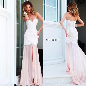 dress prom lace pretty chiffron pearl pink sherri shill sherri hill prom dress