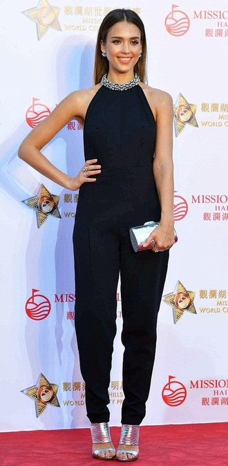 jumpsuit jessica alba black sandals