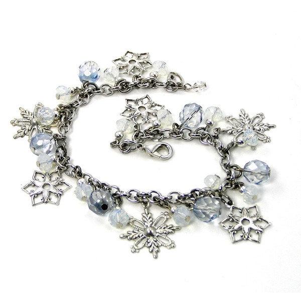 Sale, Snowflakes and Crystal Bracelet, Beaded Charm Bracelet... - Polyvore