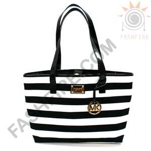 Michael Kors Summer Stripe East West Canvas Tote Black/ White #38T3XURT3C | Michael Kors 38T3XURT3C