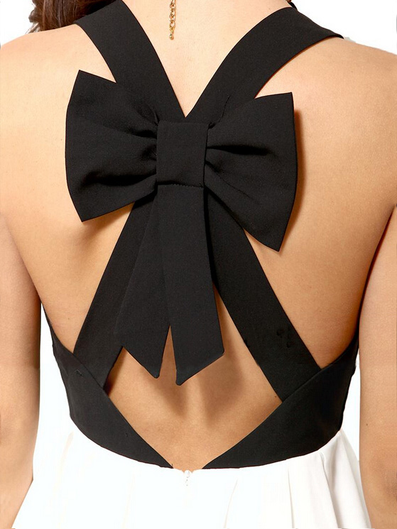 Black and white cute back hollow dress with bow tie