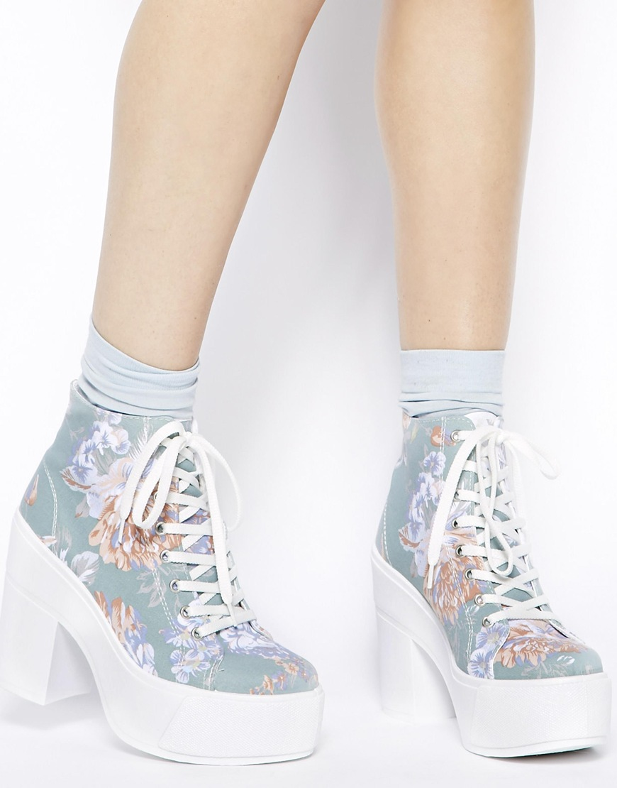 Shellys London Blue Floral Print Black Heeled Lace Up Ankle Boots at asos.com