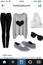 sweater,shirt,hat,jeans,shoes,hair accessory,pom pom beanie,grey,grey sweater,heart,long sleeves,pants,blue dark wash black dark,sunglasses,coat,lazy day,glasses,skinny jeans,beanie,90s style,winter sweater,fluffy,cool,goth,pastel goth,sweater heart,grey vans,blouse,heart shirt,black heart,gray and black,hipster,girly,converse,grey sweater with a black heart,top,black,white,grey sweater with black heart,gray sweater with black heart,gray vans,vans,black sunglasses,gray sweaters,gray hoodie,style,knitted sweater,oversized sweater,hearts design,fall outfits,fall sweater,fall jacket,fall winter outfits,fall coat,winter outfits,winter coat,winter jacket,winter swag,heart sweater,grey sweater with black hear,black jeans
