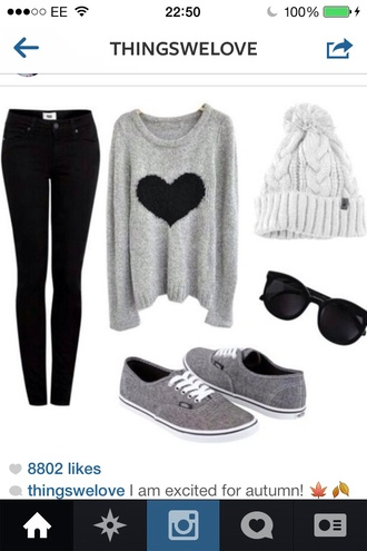 sweater shirt hat jeans shoes hair accessory pom pom beanie grey grey sweater heart long sleeves pants blue dark wash black dark sunglasses coat lazy day glasses skinny jeans beanie 90s style winter sweater fluffy cool goth pastel goth sweater heart grey vans blouse heart shirt black heart gray and black hipster girly converse grey sweater with a black heart top black white grey sweater with black heart gray sweater with black heart gray vans vans black sunglasses gray sweaters gray hoodie style knitted sweater oversized sweater hearts design fall outfits fall sweater fall jacket fall winter outfits fall coat winter outfits winter coat winter jacket winter swag heart sweater grey sweater with black hear black jeans