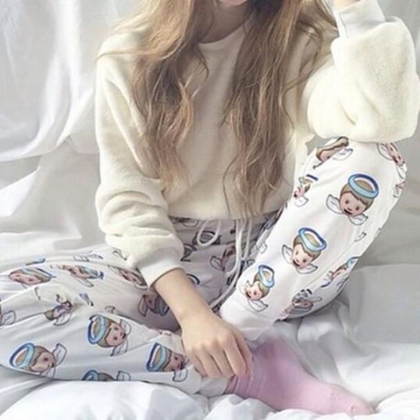 pants emoji pants white angel emoji print sweater joanna kuchta phone cover emoji print pajamas jumper pajamas emoji pyjamas fluff white pyjamas blouse fluffy pajamas tumblr angel emoji sweatpants pajamas cute style