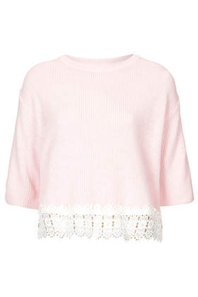 Lace Hem Crop Top - Tops - Clothing - Topshop USA