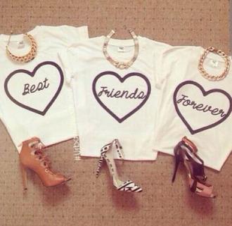 best friend shirts bff best bitches t-shirt white shirt cute tumblr earphones white t-shirt