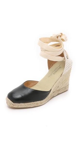 espadrilles leather black shoes