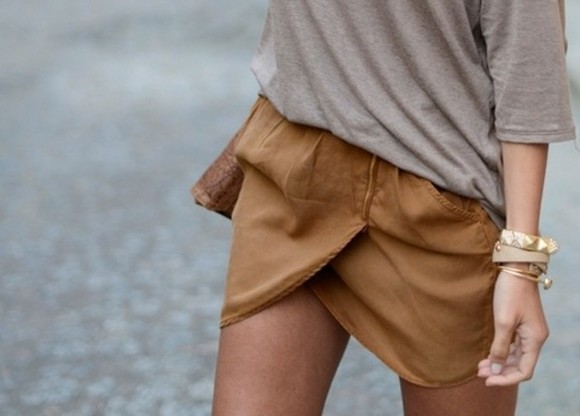 skirt asymetric skirt shirt brown tan shorts
