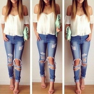 top blouse off the shoulder white shirt boho cute casual jeans