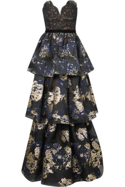 gown lace blue dress