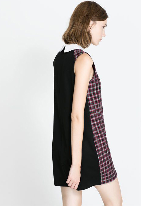 Black Contrast Lapel Sleeveless Plaid Dress - Sheinside.com