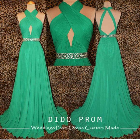 green dress cut-out dress dress prom dress