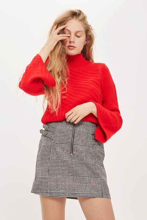 Buckle Side Checked Mini Skirt - Skirts - Clothing