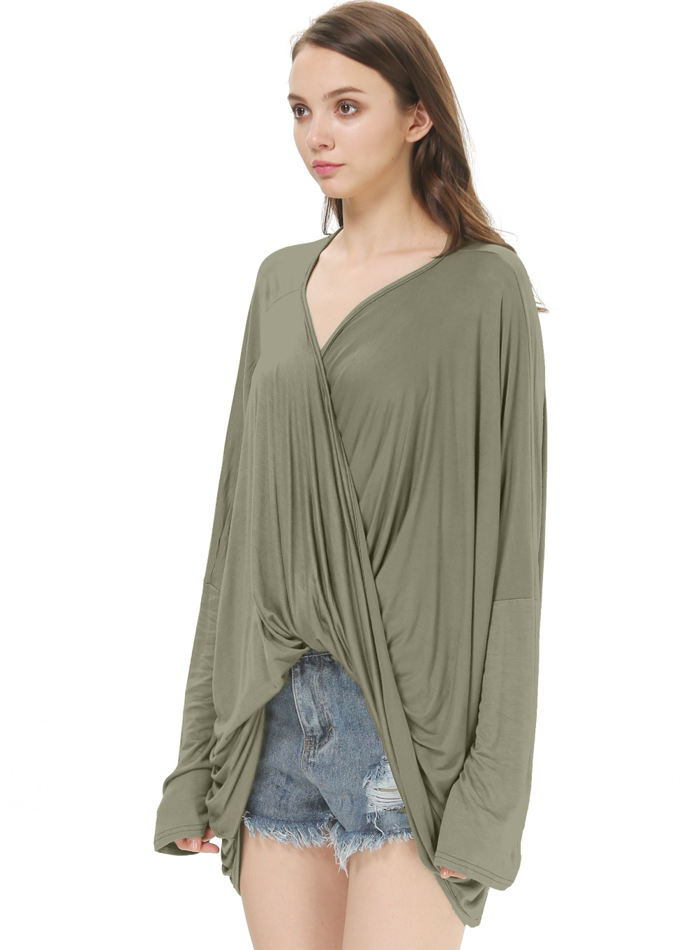 Dark Green Deep V Neck Long Sleeve Pleated T-Shirt - Sheinside.com