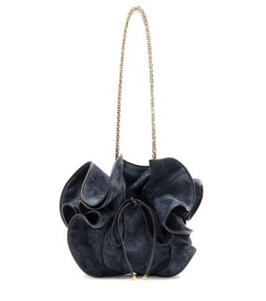 Nina Ricci Lily Suede Bucket Bag in blue