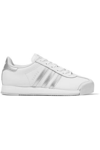metallic sneakers leather white shoes