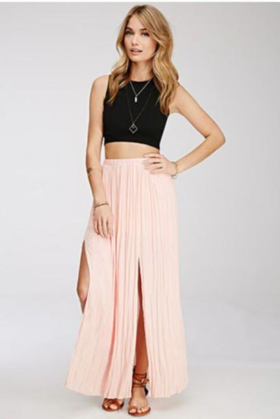 skirt maxi skirt crop tops pink skirt blonde hair blonde hair blackcroptop necklace necklace