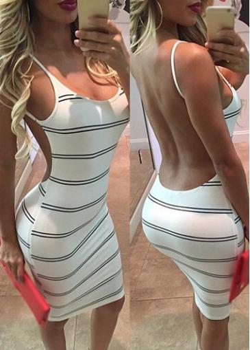 Striped Open Back White Sheath Dress Usd 21 77