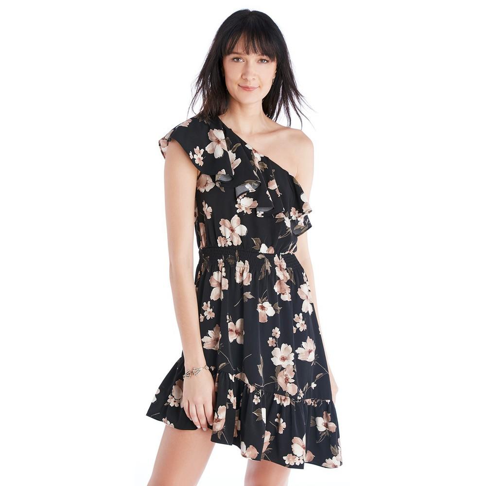 J.O.A. J.O.A. One Shoulder Ruffle Dress  - Black Multi-Large