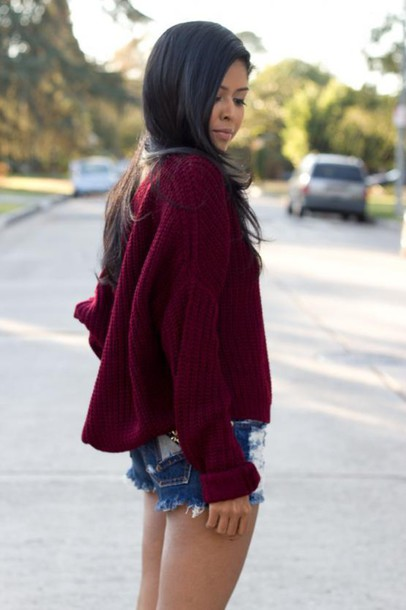 sweater burgundy fashin style warm cozy knitwear clothes jumper Boat Neck Wine Red Sweater winter outfits fall sweater casual