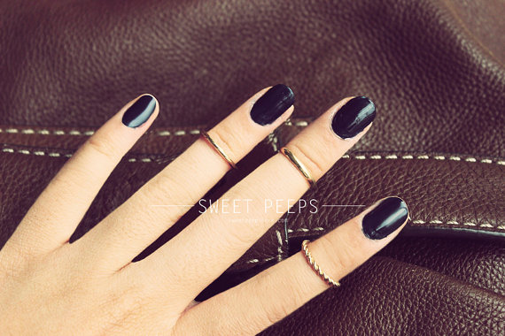 3 Gold Knuckle Rings Midi Rings Midi Ring Above by sweetpeepshere