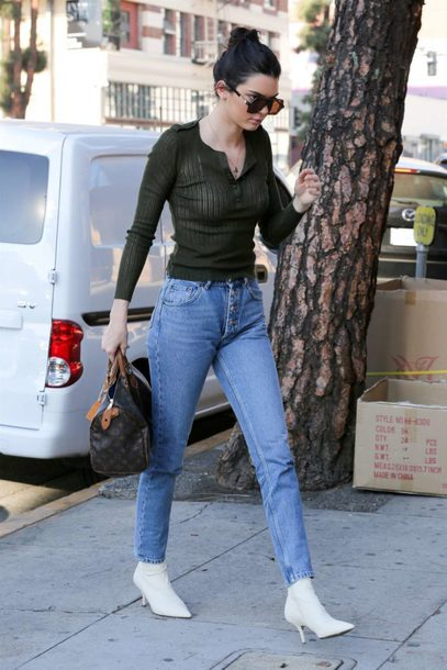 blouse top streetstyle kardashians kendall jenner ankle boots jeans fall outfits model off-duty
