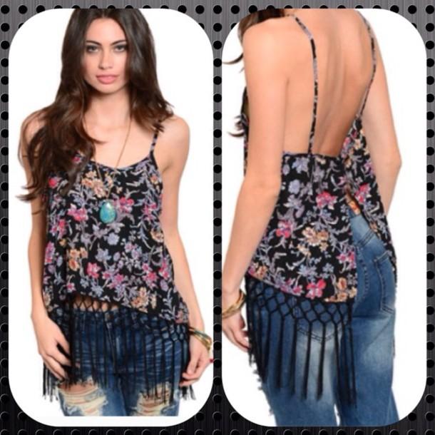 blouse black floral bohemian fringe topp