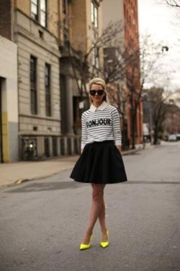 sweater shirt black and white shirt neon yellow shoes black skirt sunglasses