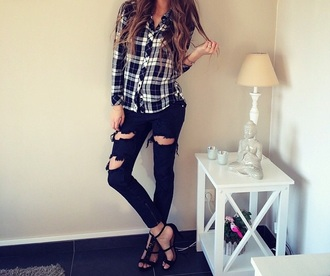 shirt top checkered checked shirt black shirt jeans black jeans ripped jeans ripped denim black heels high heels
