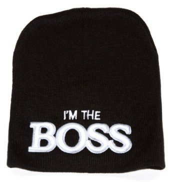 Amazon.com: I'm the Boss Embroidered Black Cuffless Knit Beanie: Clothing