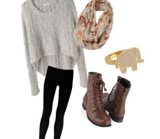sweater winter sweater winter outfits leggings casual boots military boots elephant infinity scarf floral