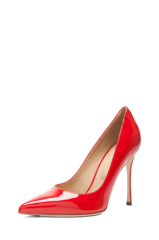 Sergio Rossi | Godiva Patent Leather Pumps in Rosso Flamenco